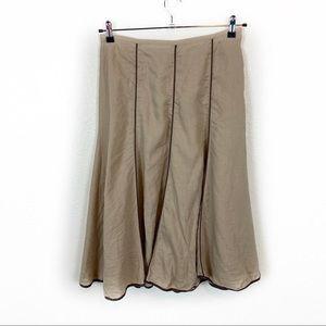 Vintage 100% Linen Tan W/ Brown Piping Skirt SZ 6
